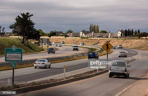 Traffic flows along State Highway 101 on April 4 near Gonzales California The Salinas Valley backdrop for several John Steinbeck books and in close...