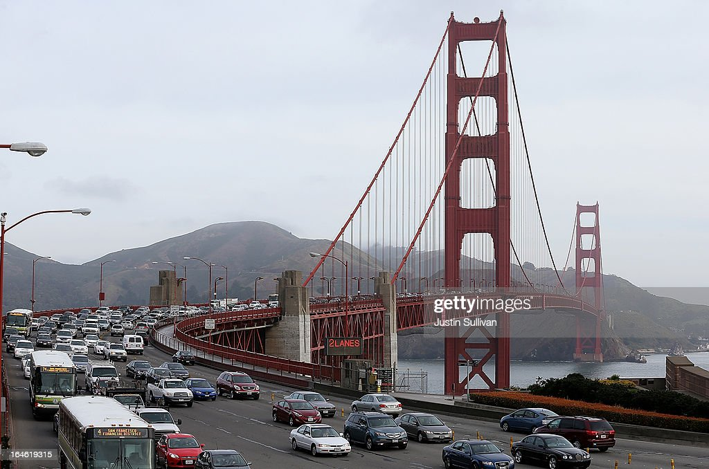 Traffic flows over the Golden Gate Bridge during the morning commute on March 25, 2013 in San Francisco, California. Workers are making last minute changes to the Golden Gate Bridge toll plaza in preparation of making the iconic bridge the first major toll bridge in the nation to go to all electronic tollbooths. The entire staff of full time toll collectors will be replaced by the automated booths starting on March 27.