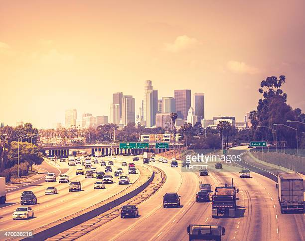 Traffic heading into Downtown Los Angeles