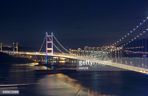 Traffic highway bridge at night : Stock Photo