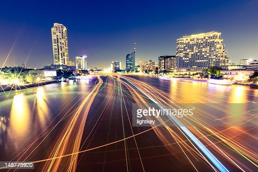 Traffic in Chao Phraya river, Bangkok : Stock Photo