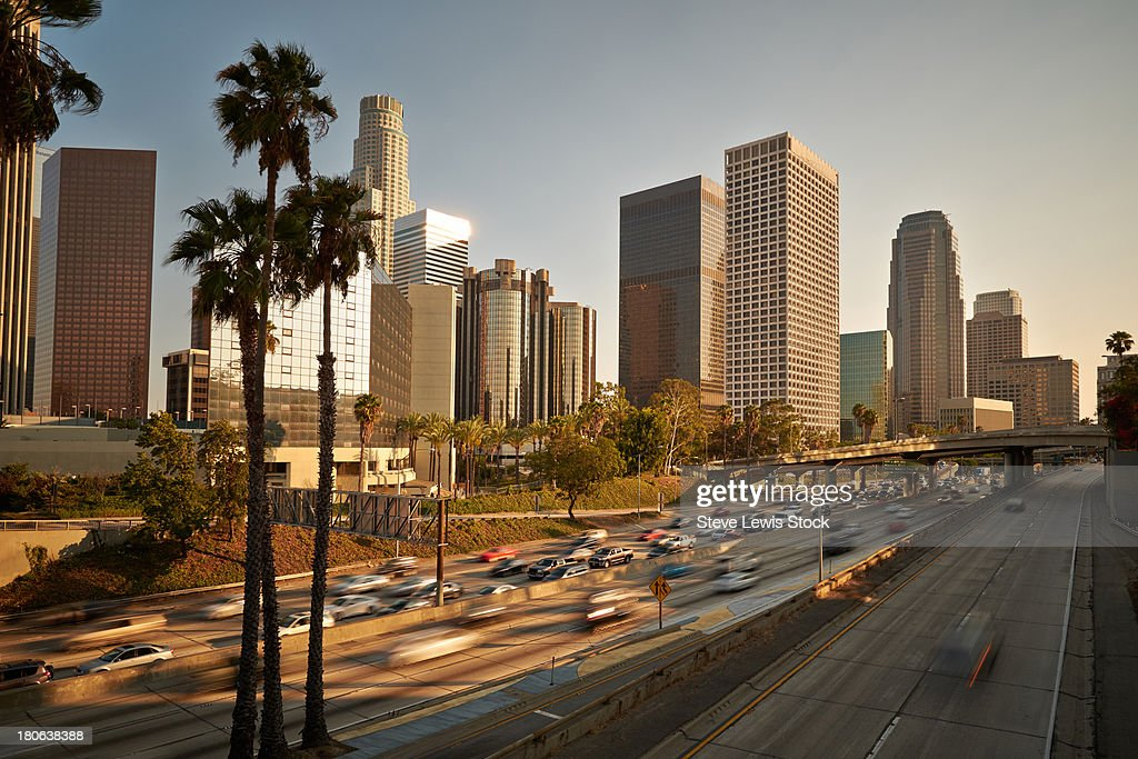 Traffic in downtown Los Angeles