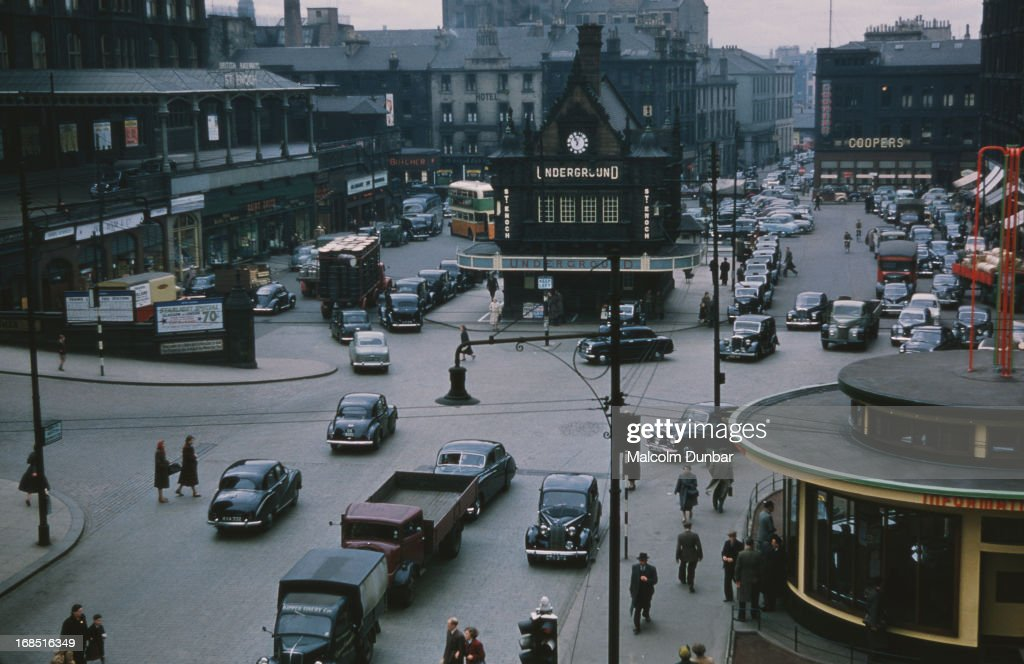 Traffic in front of St Enoch Subway Station in St Enoch Square Glasgow 1955