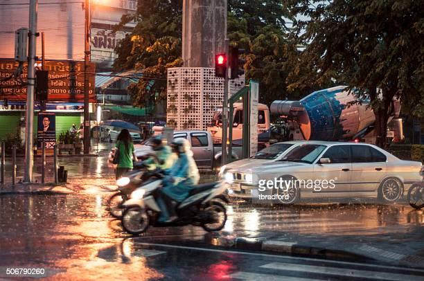 Traffic In Heavy Rain In Bangkok, Thailand