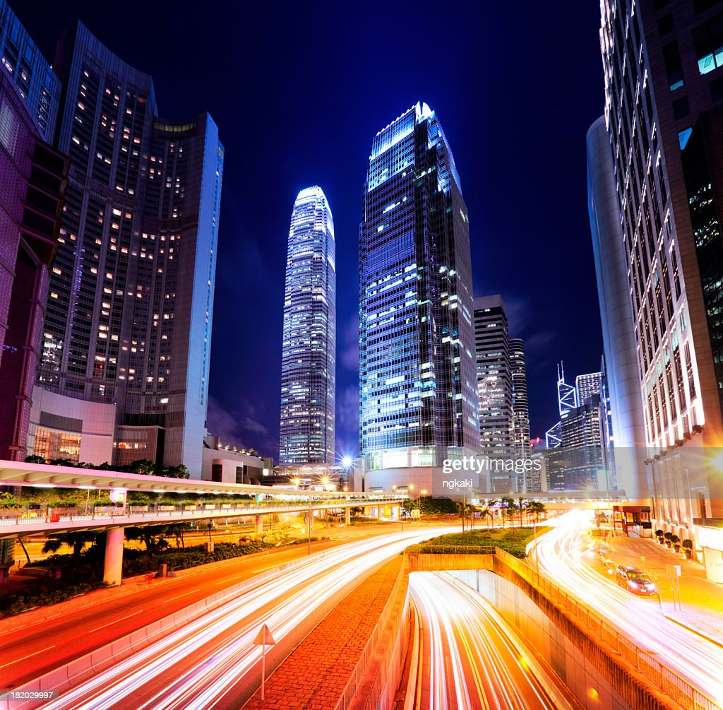 Traffic in Hong Kong city at night : Stock Photo