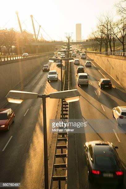 Traffic in Munich in evening light
