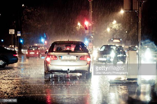 Traffic in rain at night