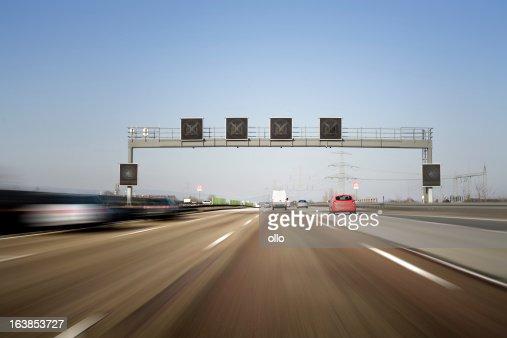 Traffic information system on german autobahn A5 - motion blur
