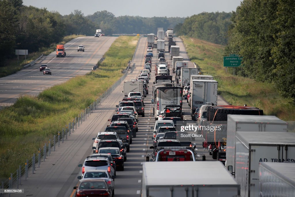 Traffic is backed up in the northbound lanes of Interstate 57 following the solar eclipse on August 21, 2017 near Johnston, Illinois. With approximately 2 minutes 40 seconds of totality the area in Southern Illinois experienced the longest duration of totality during the eclipse. Millions of people watched the eclipse as it cut a path of totality 70 miles wide across the United States from Oregon to South Carolina on August 21.