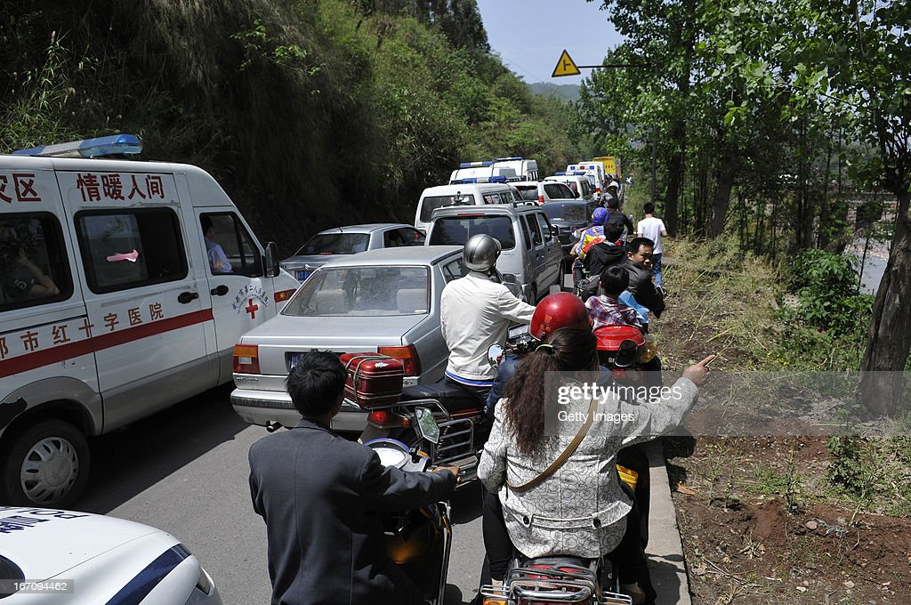 YA'AN, CHINA - APRIL 20: (CHINA OUT) Traffic is jammed after the earthquake-hit region of Southwest China's Sichuan Province on April 20, 2013 in Ya'an, China. A 7.0-magnitude earthquake rocked the Ya'an county of Sichuan province.