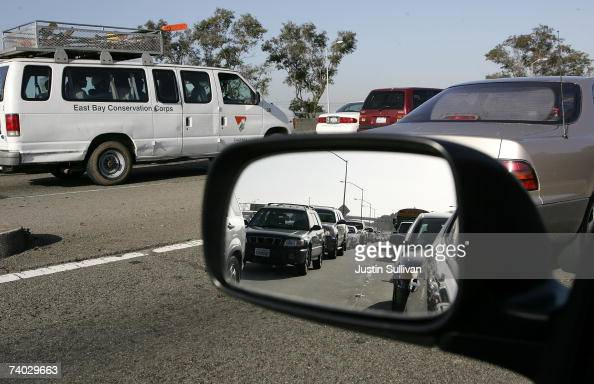 Traffic is seen backed up on westbound Interstate 80 approaching a closed section of Interstate 580 April 30 2007 in Emeryville California The...