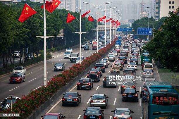 A traffic jam appears during the upcoming National Day of the People's Republic of China on September 30 2014 in Shenzhen Guangdpng province of China...