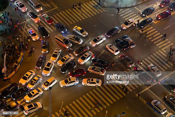 Traffic jam at road intersection in Shanghai.