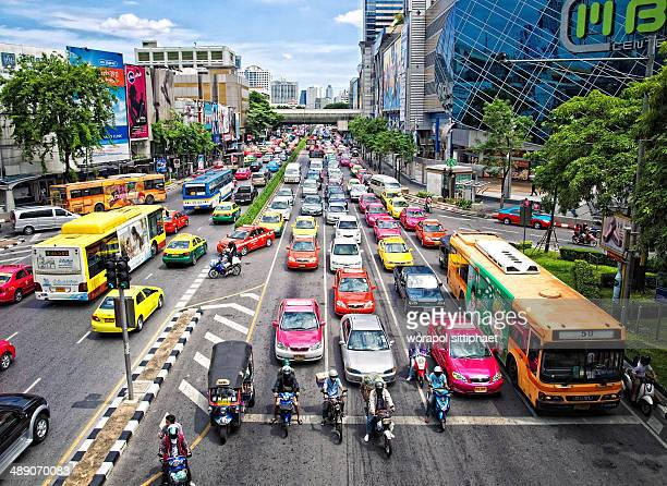 CONTENT] Traffic jam at Siam square intersection Bangkok Thailand