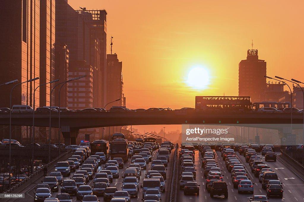Traffic Jam at sunset, Beijing Solstice