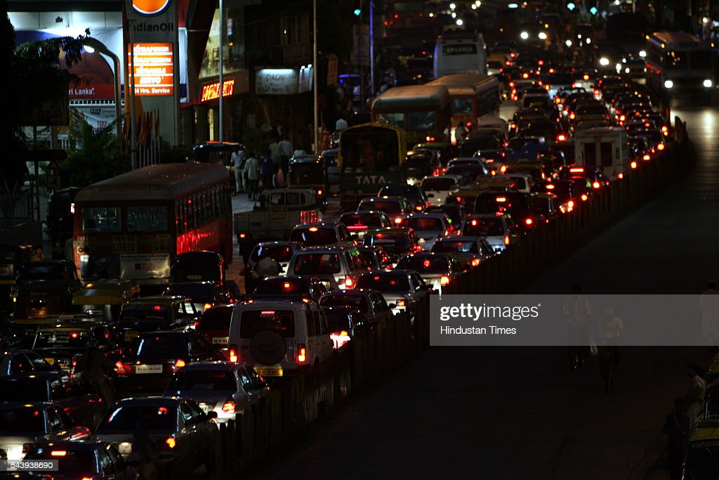 Traffic Jam at S.V. Road, Bandra on July 20, 2005 in Mumbai, India.