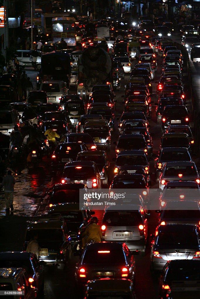 Traffic Jam at S.V. Road, Bandra on July 20, 2005 in Mumbai, India.