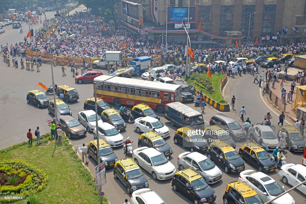 Traffic jam due to MNS protest rally from Metro Cinema to Churchgate for better Railway services, on October 5, 2017 in Mumbai, India. Raj Thackeray said while addressing a rally, 'When people in Mumbai leave their homes in the morning, it's not even certain whether they will return home or not. This is unacceptable.'