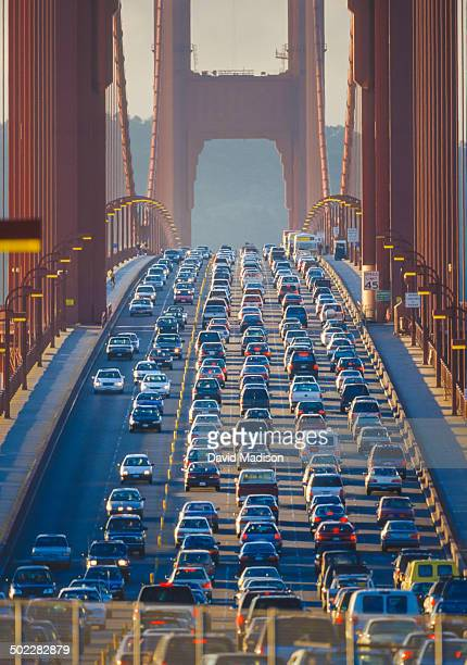 Traffic jam during rush hour commute on the Golden Gate Bridge in San Francisco California USA