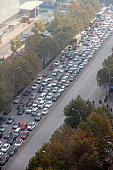 A traffic jam happens on Jinshui road on November 19 2014 in Zhengzhou Henan province of China Tunnel construction on Jinshui road and Weilai road...