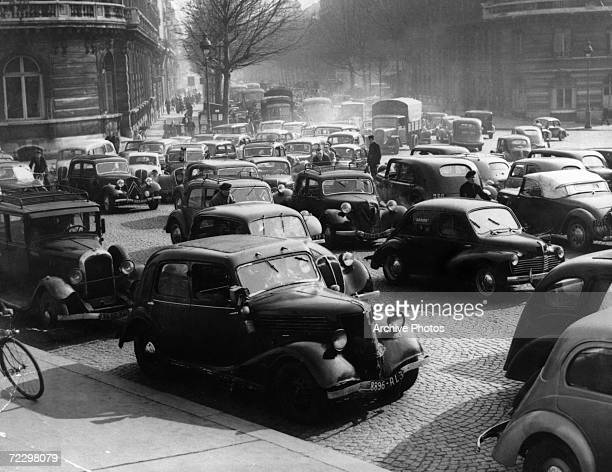 A traffic jam in Paris during a strike by public transport workers circa 1935