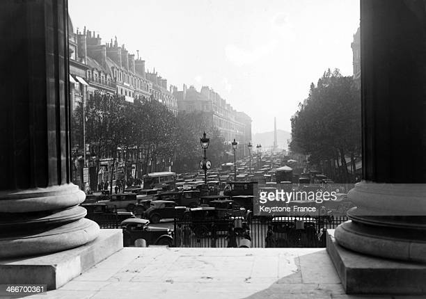 Traffic jam in the rue Royale seen from the Church of La Madeleine in October 1929 in Paris France