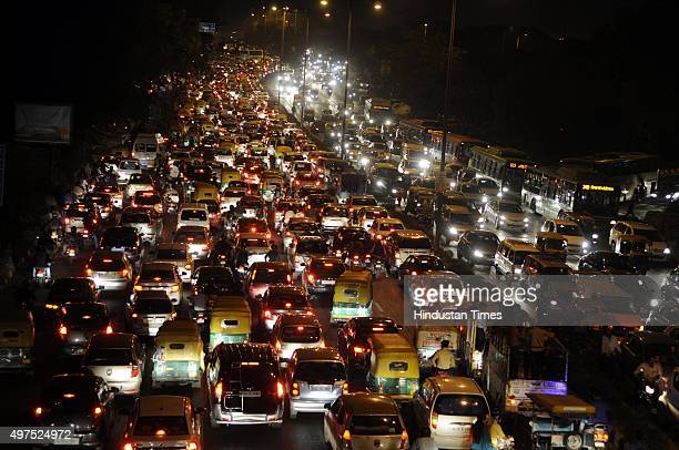 Traffic Jam near ITO during the Chhath festival on November 17 2015 in New Delhi India Chhath festival also known as Surya Pooja is observed in...