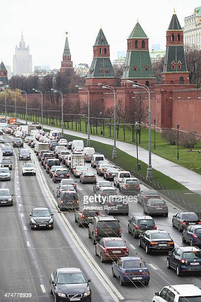 Traffic jam near the gates of Kremlin on October 31 2013 in Moscow Russia