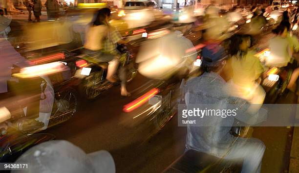 Traffic Jam of Motorbikes, Saigon, Vietnam