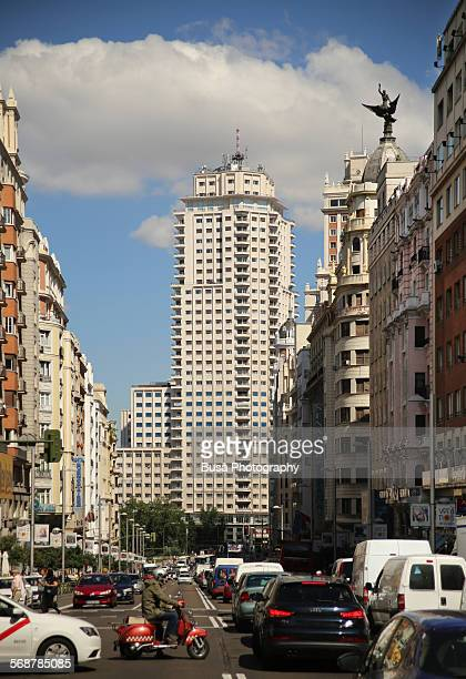 Traffic jam on Calle Gran Via, Madrid
