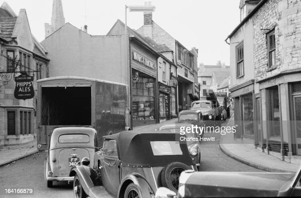 A traffic jam on the A1 in Stamford Lincolnshire 13th October 1955 Original publication Picture Post 8136 The Great North Road 400 Miles Of Death pub...