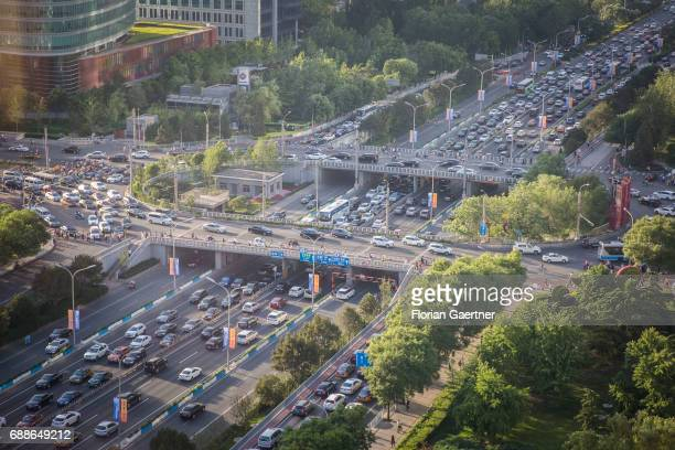 A traffic jam on the highway is pictured on May 24 2017 in Beijing China
