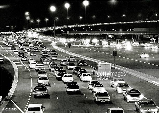 Traffic jam over the Westgate Bridge on the night it was opened November 15 1978 Radio station 3DB paid the toll for the first 48 hours and...