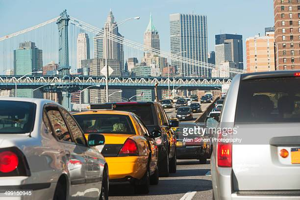 Traffic jam with Manhattan Bridge in background, New York City, New York State, USA