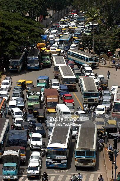 Traffic jams on the hisghway near Bangalore City