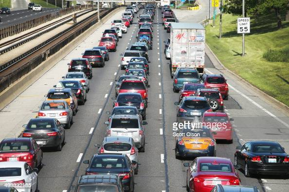 Traffic jams up on the Kennedy Expressway leaving the city for the Memorial Day weekend on May 23 2014 in Chicago Illinois AAA forecasts the number...