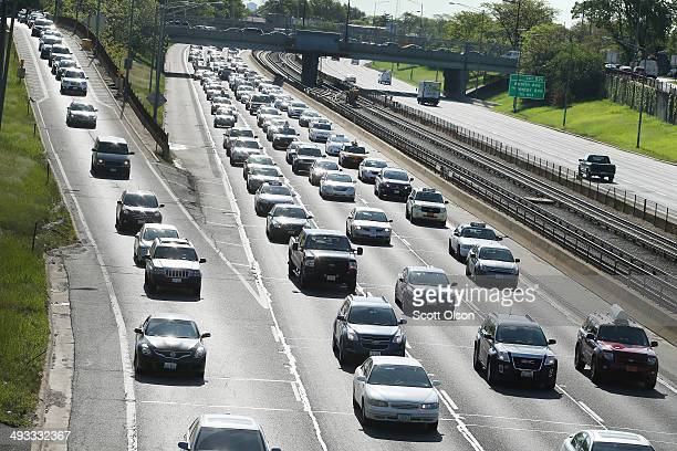 Traffic jams up on the Kennedy Expressway leaving the city while inbound traffic remains light as motorists hit the road for the start of the...