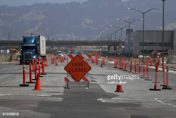 A traffic lane is blocked off for repairs on July 12 2017 in Oakland California According to a report by WalletHub roads in San Francisco Oakland and...