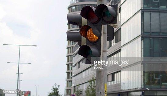 Traffic light activated yellow light : Stock Photo