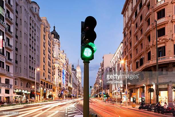 Traffic light at Gran Via (dusk)