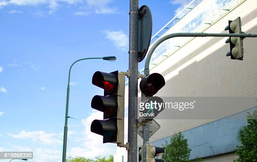 Traffic light at the intersection : Stock Photo
