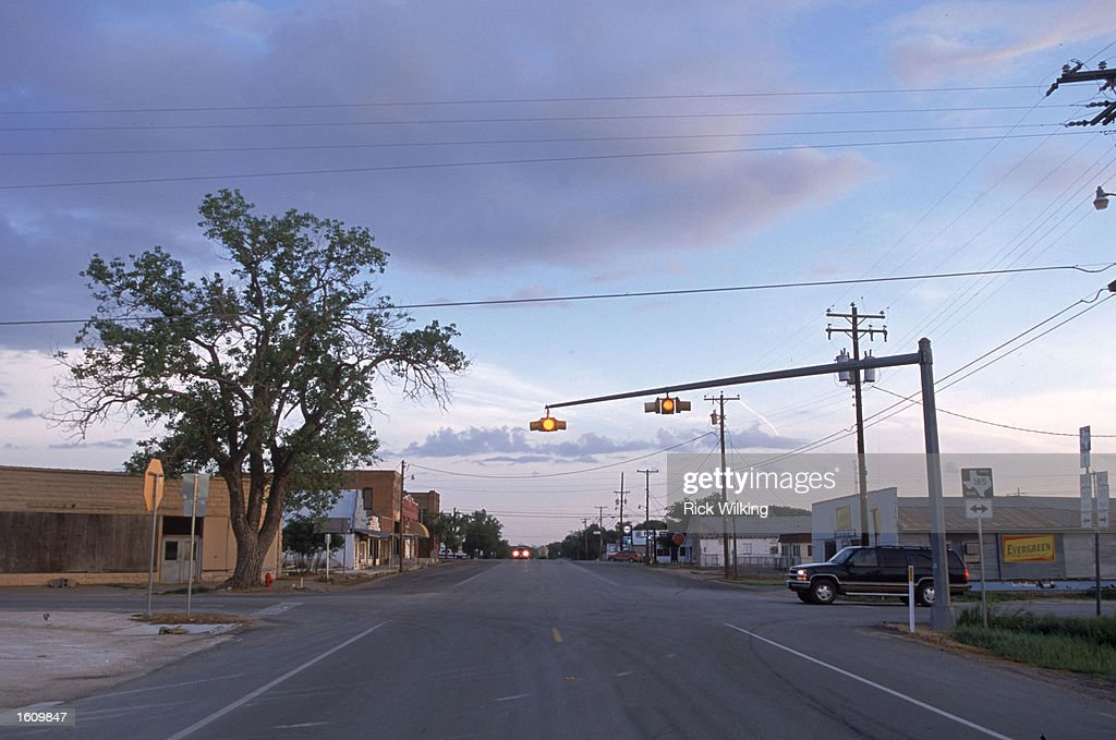 A traffic light blinks yellow April 11 2001at an intersection in the middle of Crawford TX The President George W Bush family ranch called 'Prairie...