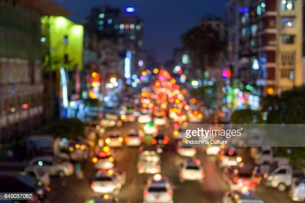 Traffic light bokeh at Yangong, Myanmar