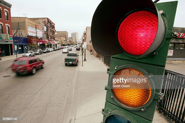 A traffic light controls the flow of vehicles and pedestrians April 20 2005 near downtown Chicago Illinois According to a survey released today the...