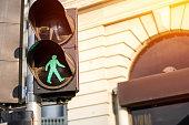 Traffic light on green in sunlight
