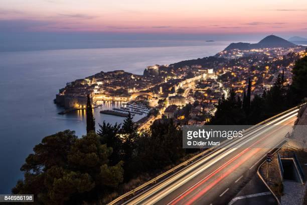 Traffic light trails in Dubrovnik in Croatia