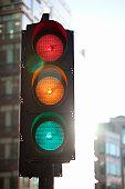 Traffic light with all lights illuminated