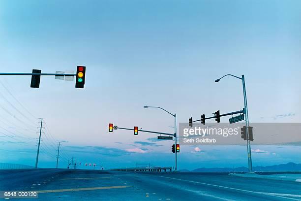 Traffic Lights on Empty Road