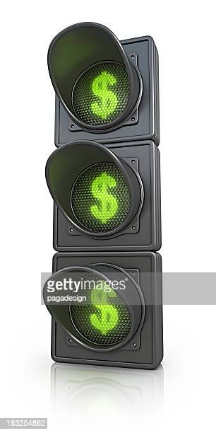 traffic lights with dollar symbol