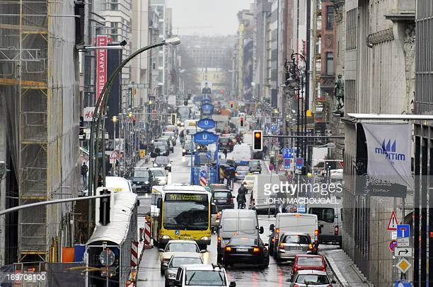 Traffic makes its way down Berlin's Friedrichstrasse on April 15 2008 The Friedrichstrasse for many years cut in two by the Berlin wall has become...